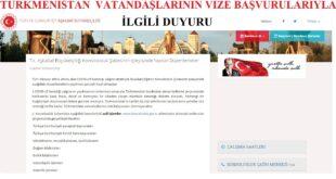 Türkmenistan Vatandaşlarının Aşkabat Türk Konsolosluğu Vize Başvurularıyla İlgili Duyuru